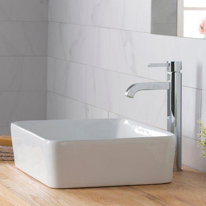 Ceramic Rectangular Vessel Bathroom Sink with Faucet in 2018 Kids