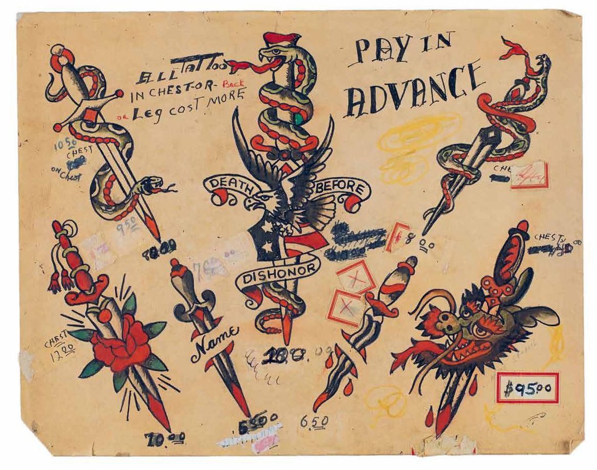 Vintage Tattoo Flash spans the first roughly 75 years of