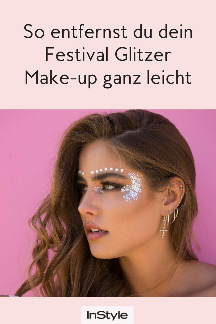 Mit diesem einfachen Hack kannst du dein Festival-Glitzer-Make-up ganz einfach e…