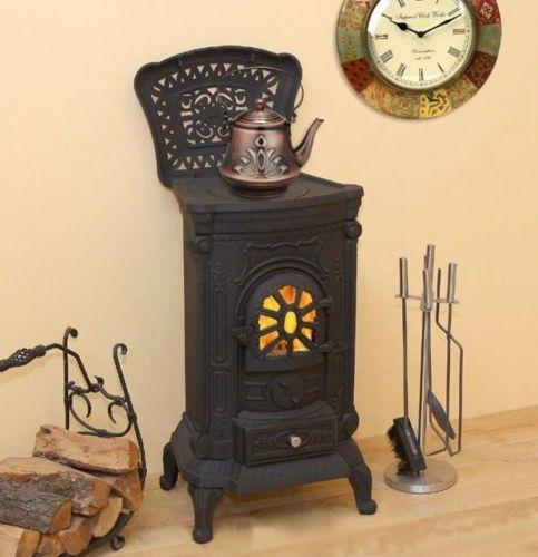 9 kw kaminofen gussofen ofen gusseisen kamine holzofen kachelofen dauerbrand ebay 345. Black Bedroom Furniture Sets. Home Design Ideas
