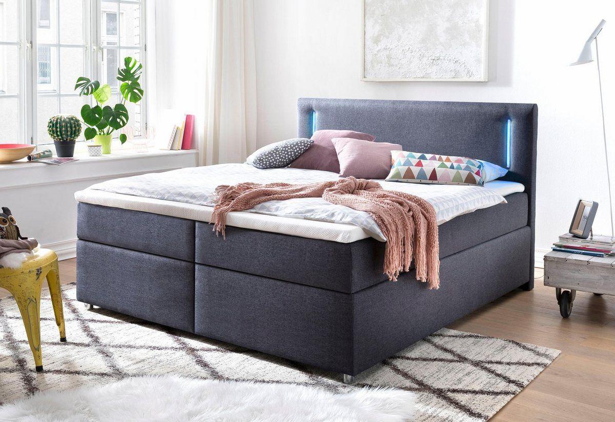 Boxspringbett Mit Topper Und Led Beleuchtung Schlafzimmerbank Mit Stauraum Boxspringbett Bett Modern