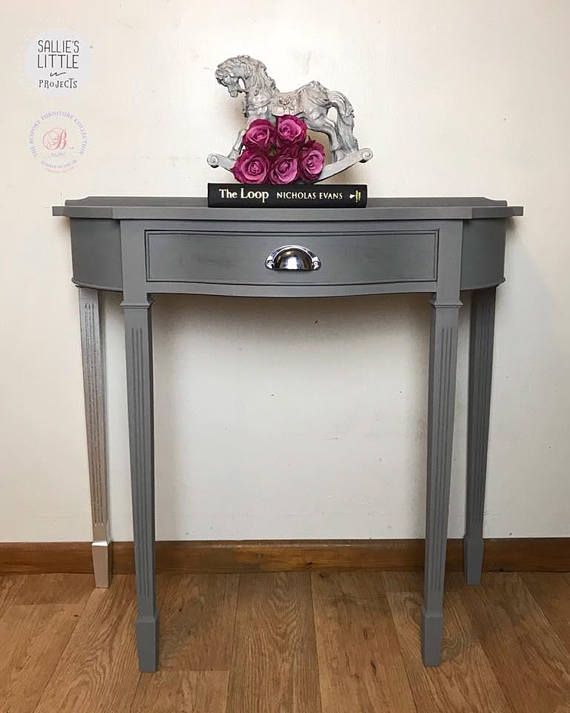Light Teal Demi-lune, Half Moon Table, Perfect As A