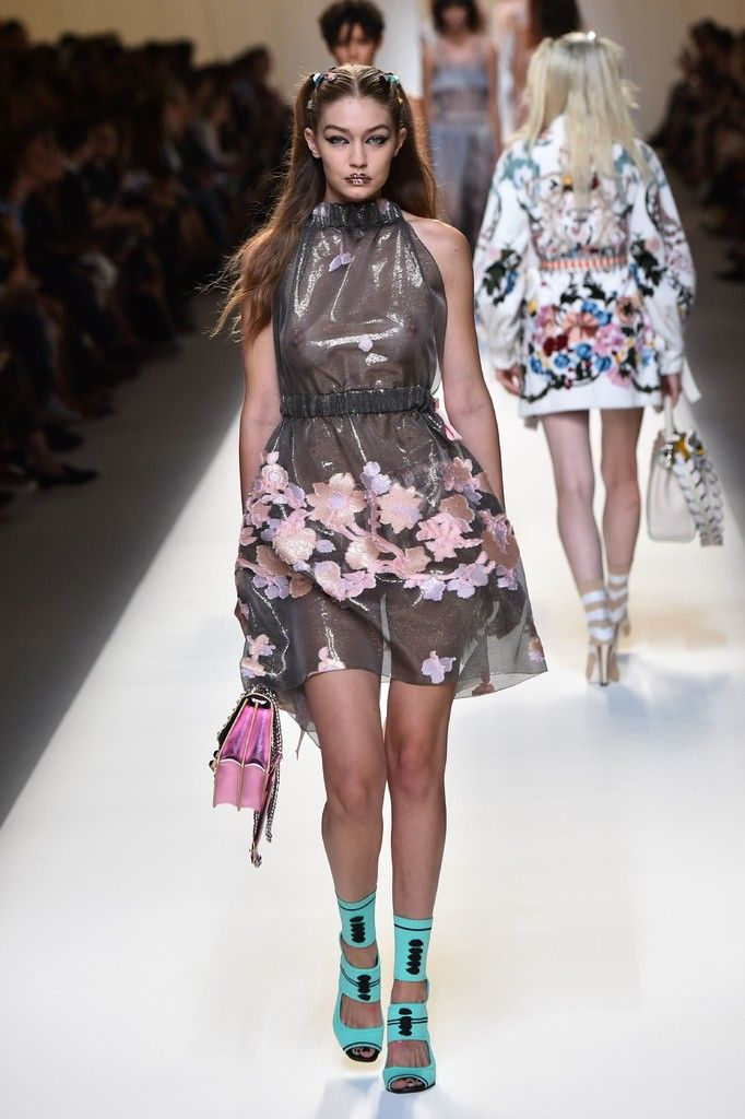 eebb098569 Model Gigi Hadid presents a creation for fashion house Fendi during the  2017 Women s Spring   Summer collections shows at Milan Fashion Week on  September 22 ...