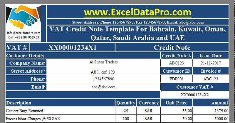 Download VAT Credit Note Template for Bahrain, Kuwait, Oman, Qatar