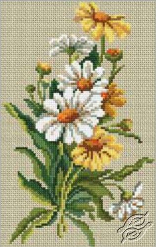 Daisies on Linen - Cross Stitch Kits by RTO - C178: