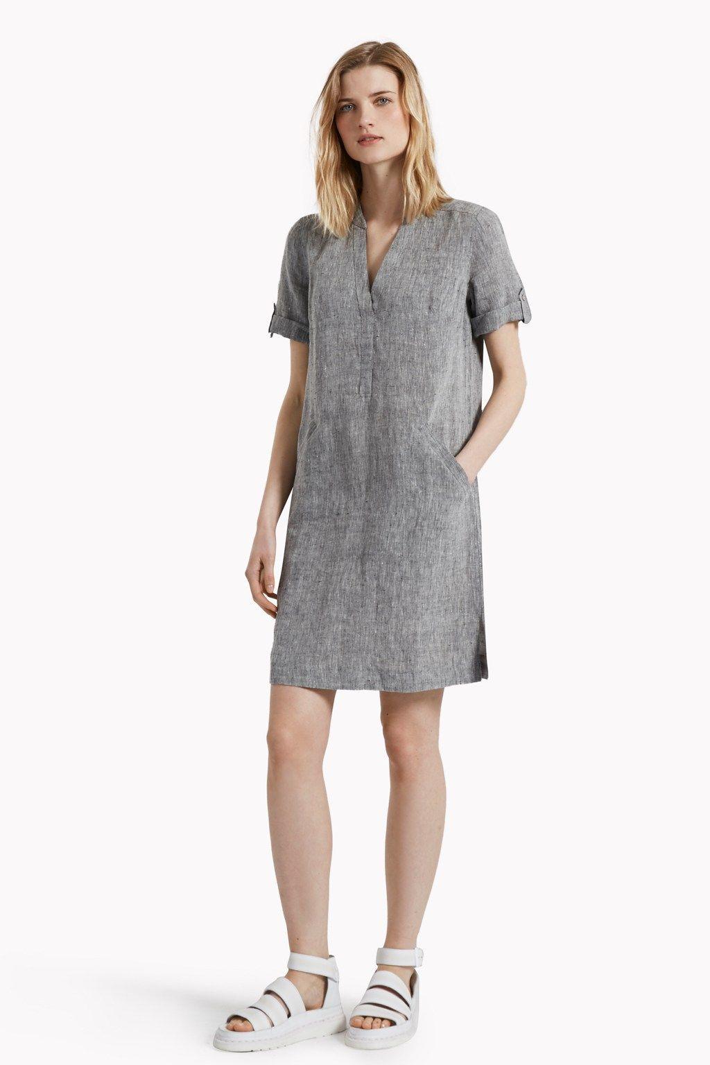 395166cd509744 Layla Linen Melange Smock Dress   Bestsellers   Great Plains   Great ...