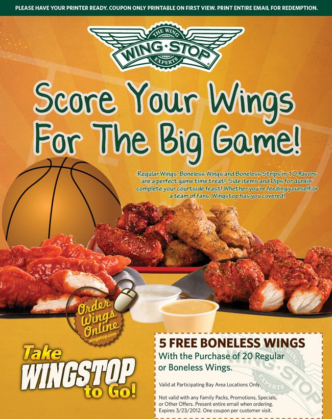 image relating to Wingstop Coupons Printable identify Pin upon Wingstop Coupon codes
