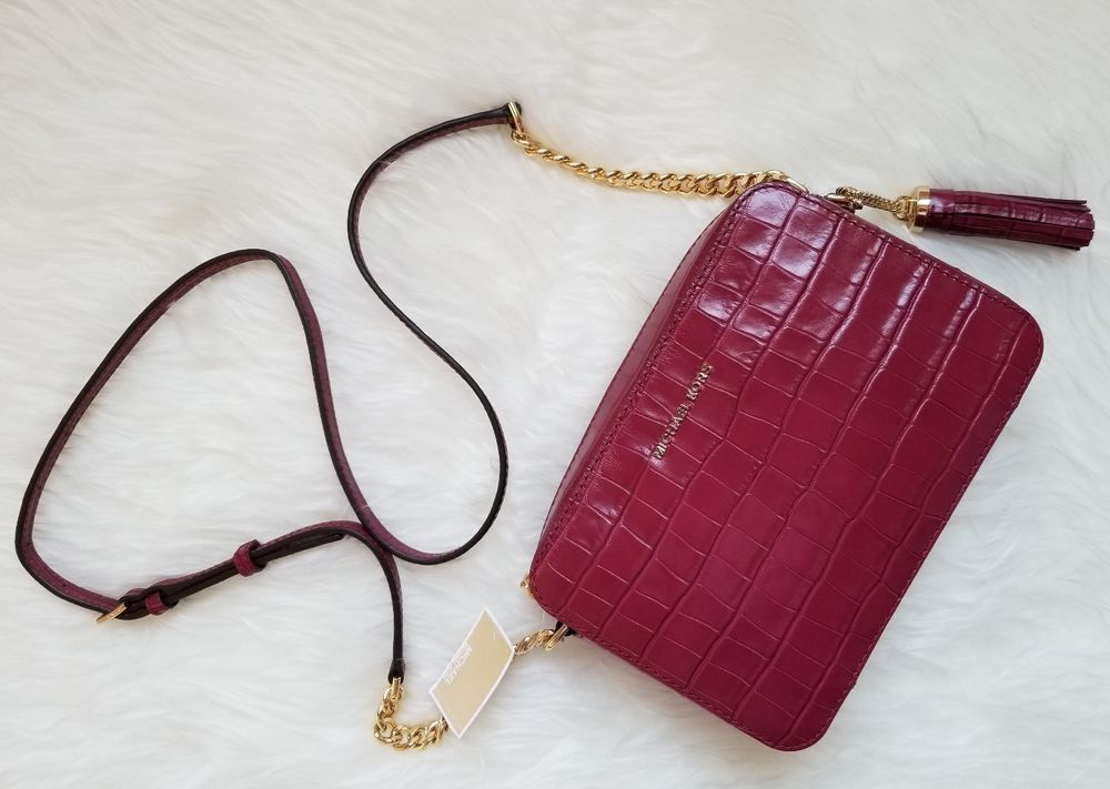 d6f3283bfa26 NWT Michael Kors Ginny Crocodile-Embossed-Leather Crossbody Mulberry    Clothing, Shoes & Accessories, Women's Bags & Handbags   eBay!