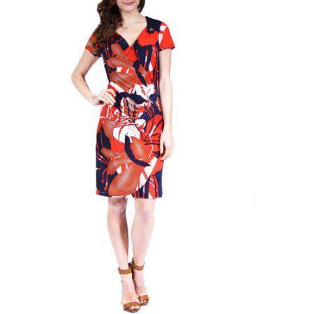 24/7 Comfort Apparel Women's Oriental Print Faux Wrapped Dress, Size: Large