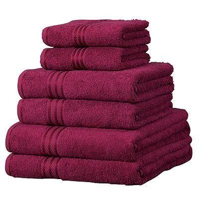 Linens Limited Supreme 100% Egyptian Cotton 6 Piece Hotel Towel Set, Wine