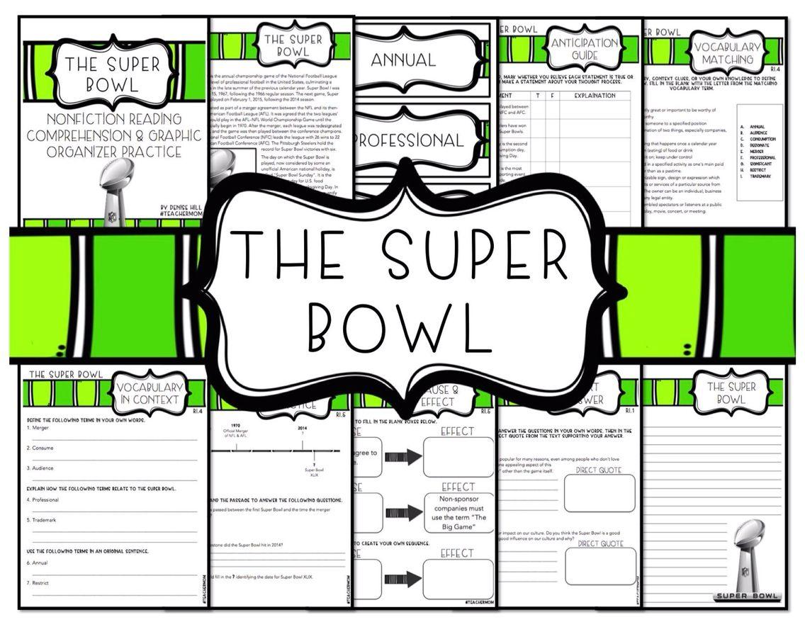 Super Bowl Non Fiction Reading Comprehension Amp Graphic