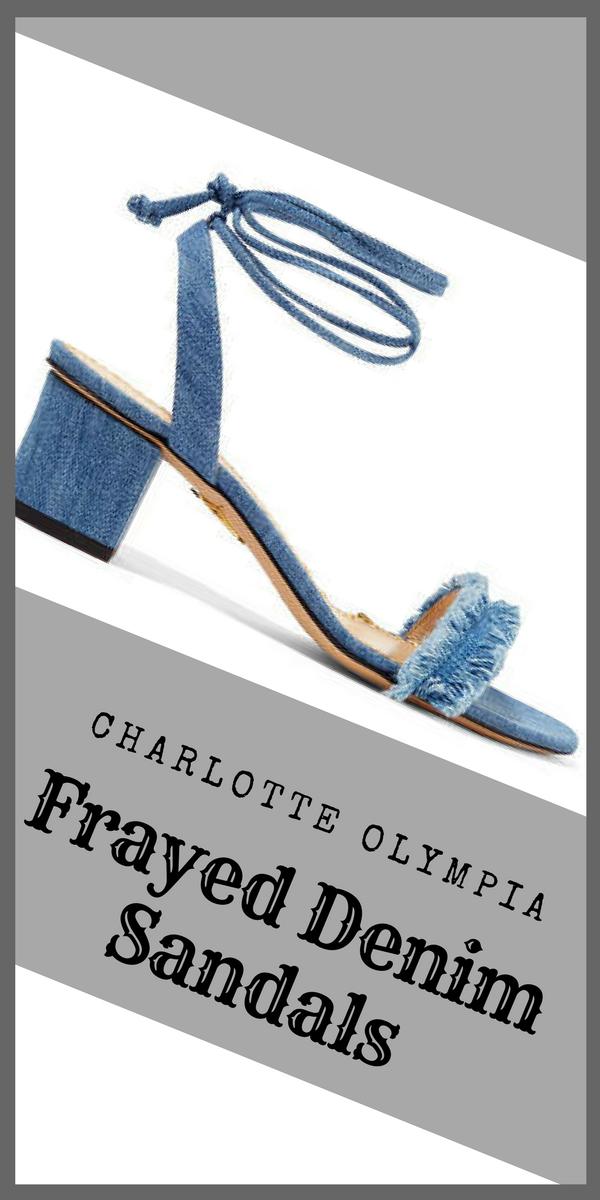 3f50df850b2447 Charlotte Olympia - Tara Frayed Denim Sandals - Light blue.  denim   affiliatelink