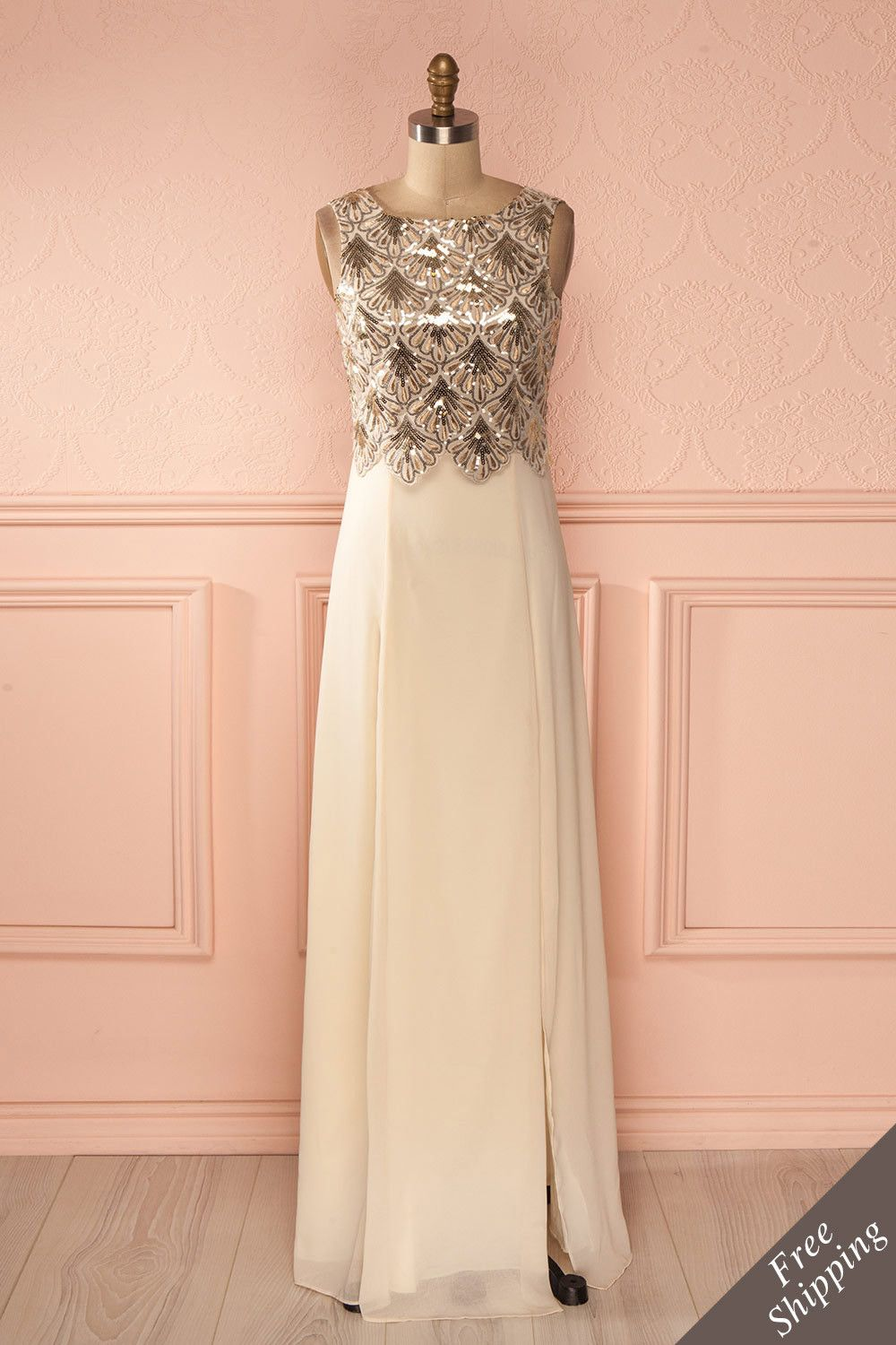 Galadriel champagne fountain gowns and gold