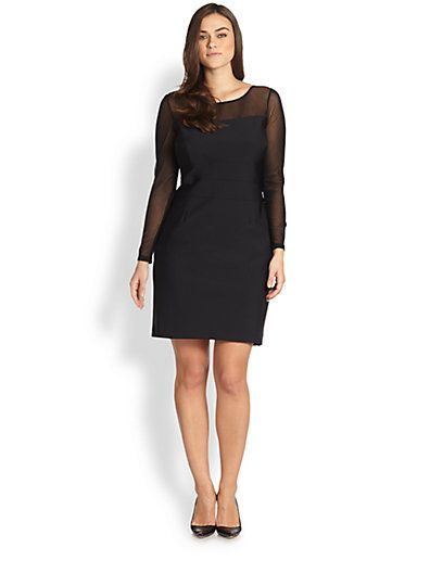 Kay Unger, Sizes 14-24 - Textured-Mesh Dress - Saks.com | Phantom ...