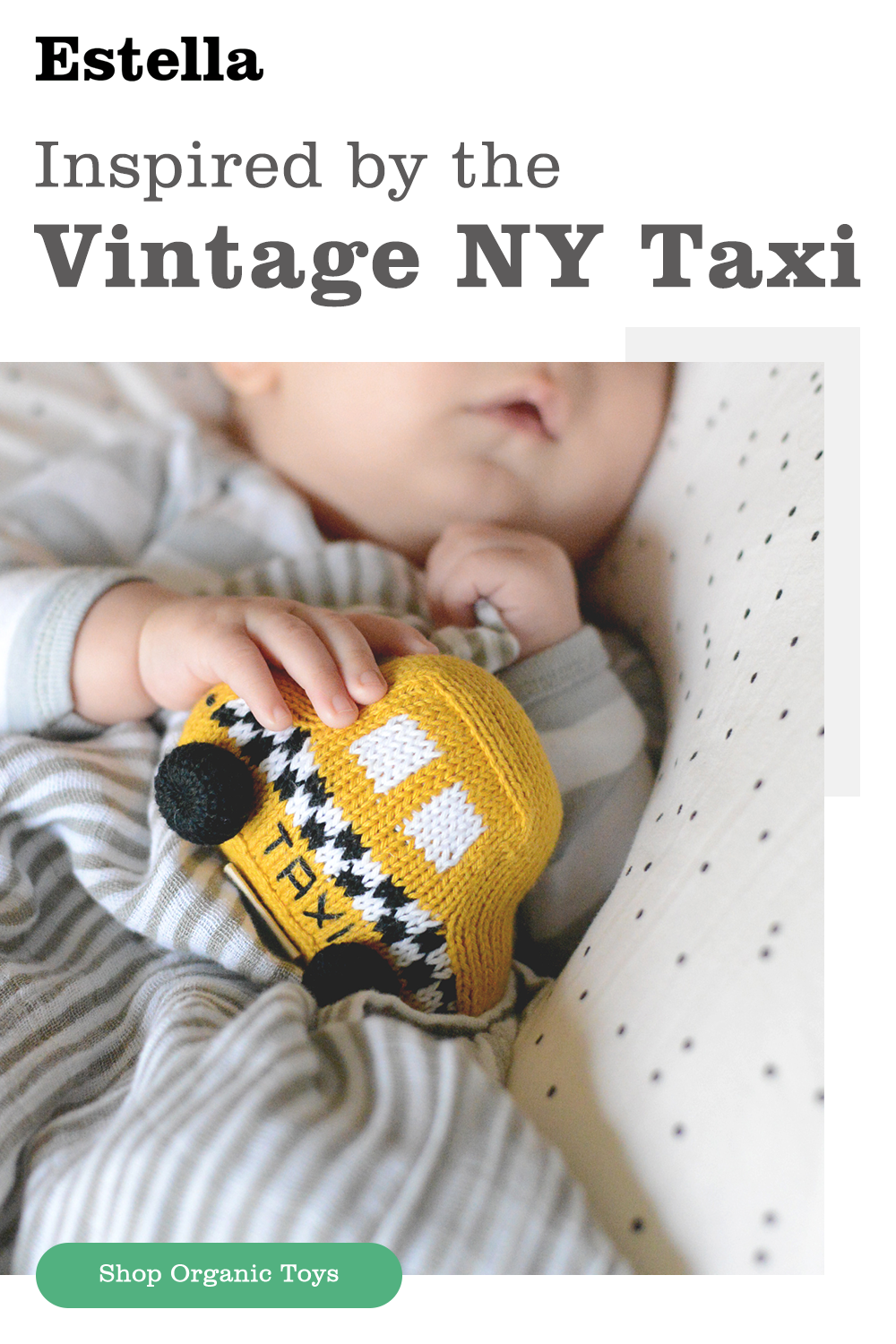 Baby Toy Rattle Taxi Car, orgánico y hecho a mano