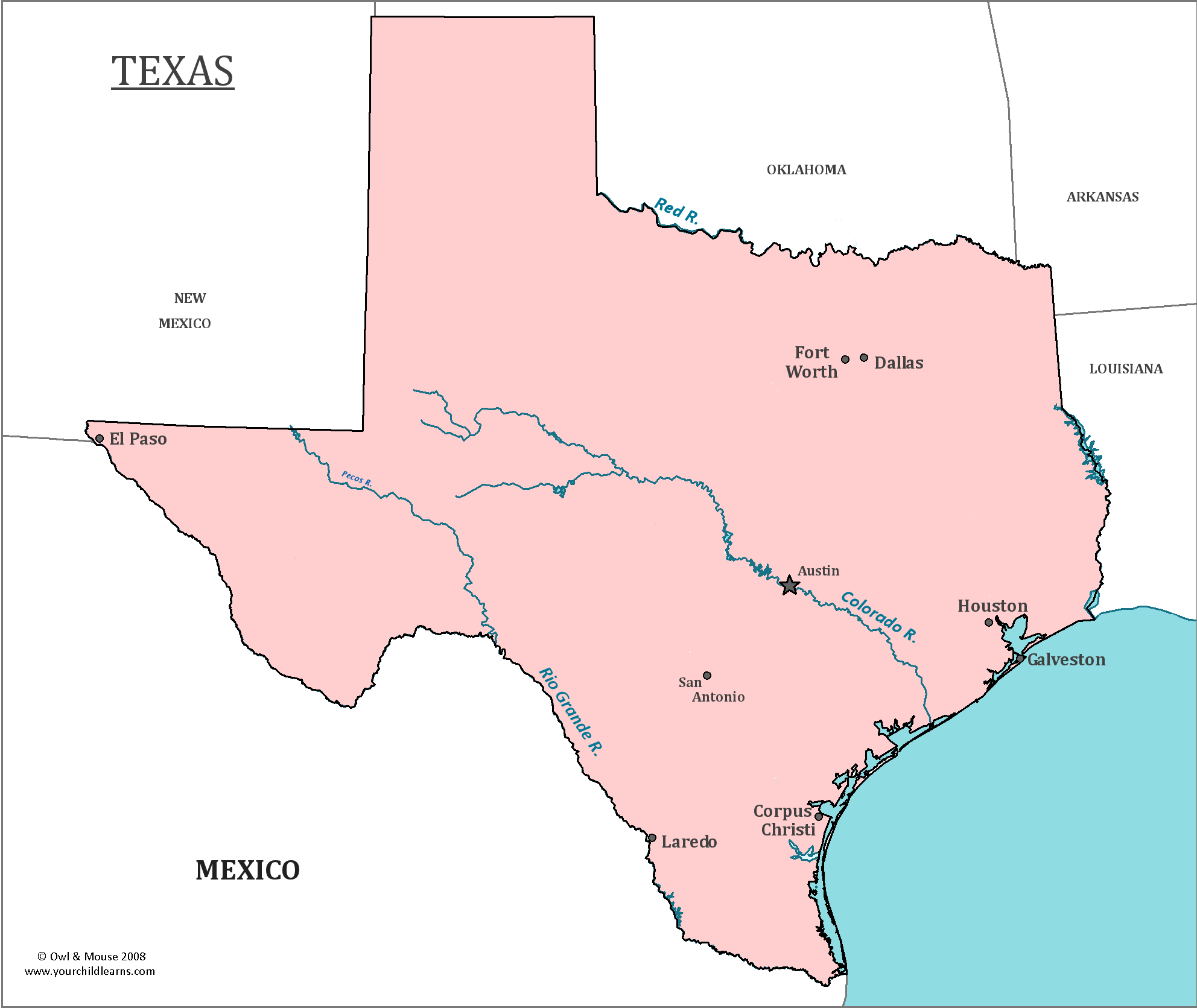 Map of Texas, major cities, states and capitals | Voyage usa ...
