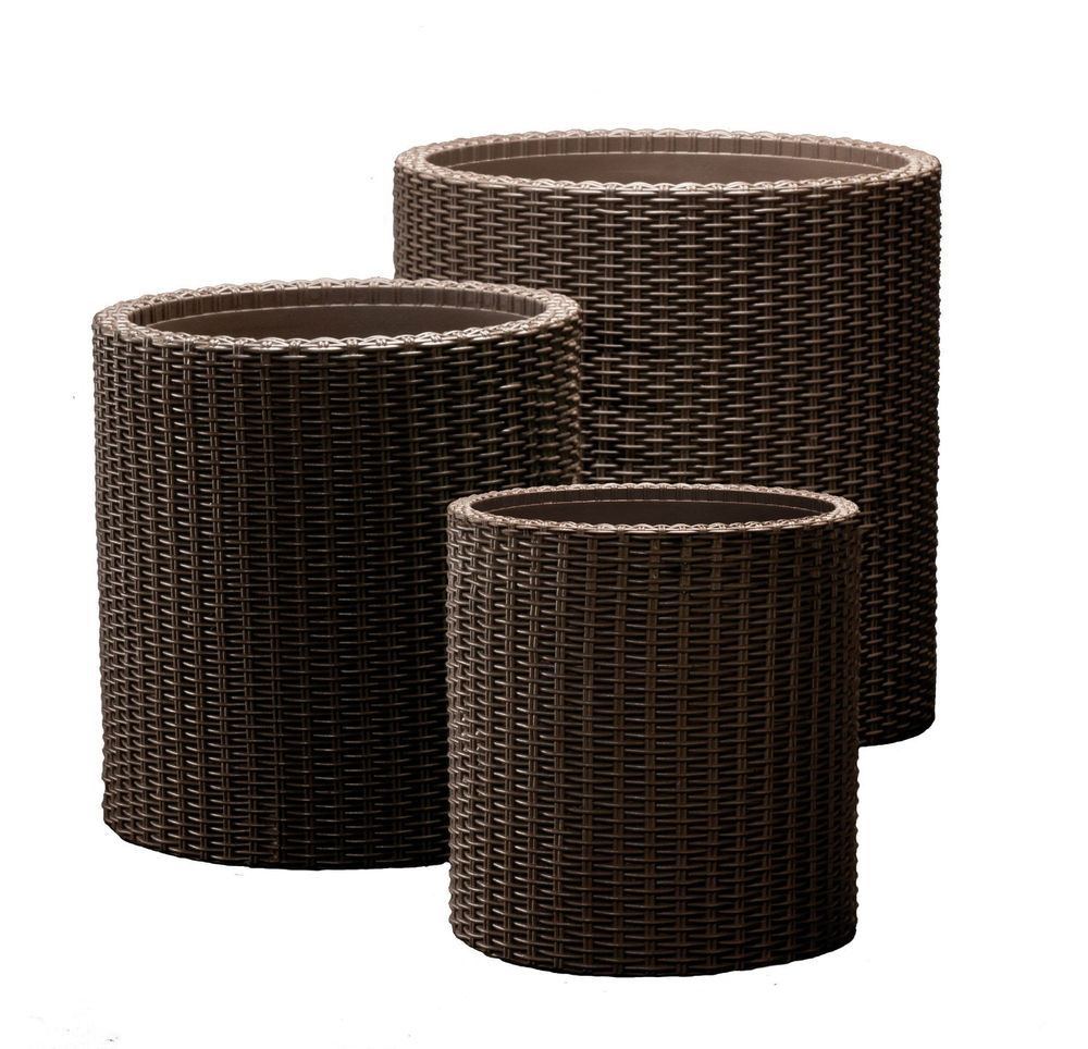 Garden Flower Plant Planters Decor Pots 3pc Set Round Cylinder Plastic Rattan Keter Wicker Planter Rattan Planters Decorative Planters