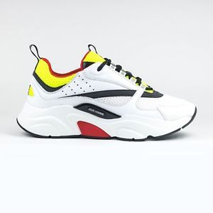 100% Authentic NEW Mens Dior Homme B22 White Red Yellow Calfskin Sneaker 666625869ea