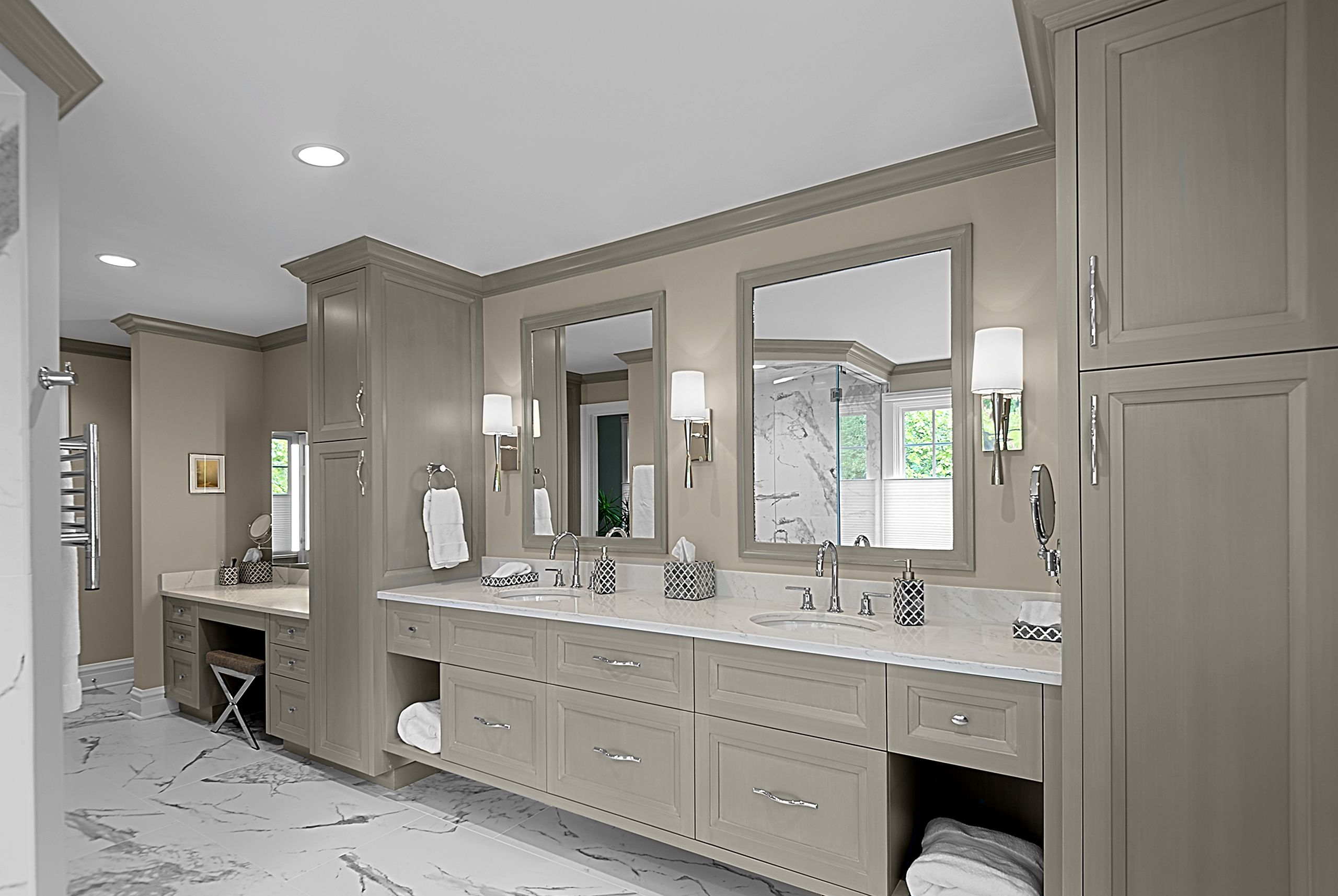 Large Master Bathroom Has Gray Stained Custom Vanity With Two Full