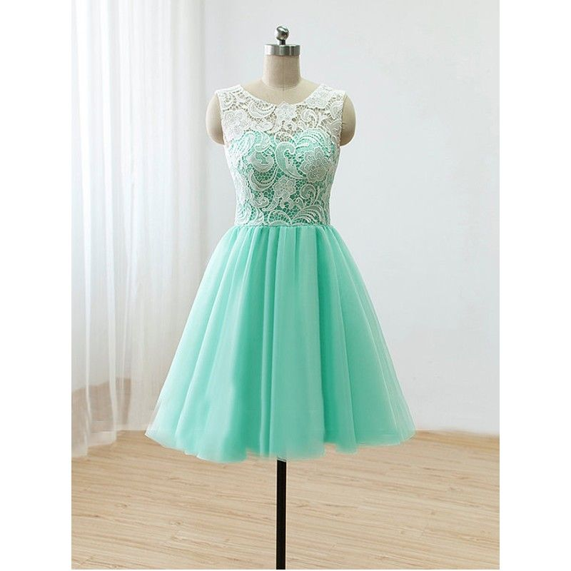 ee137bb36e64 Luulla $99 + ship (amazon less) Short Mint Lace Tulle Prom Dress Round-Neck  Lace A-Line Short Party Dress