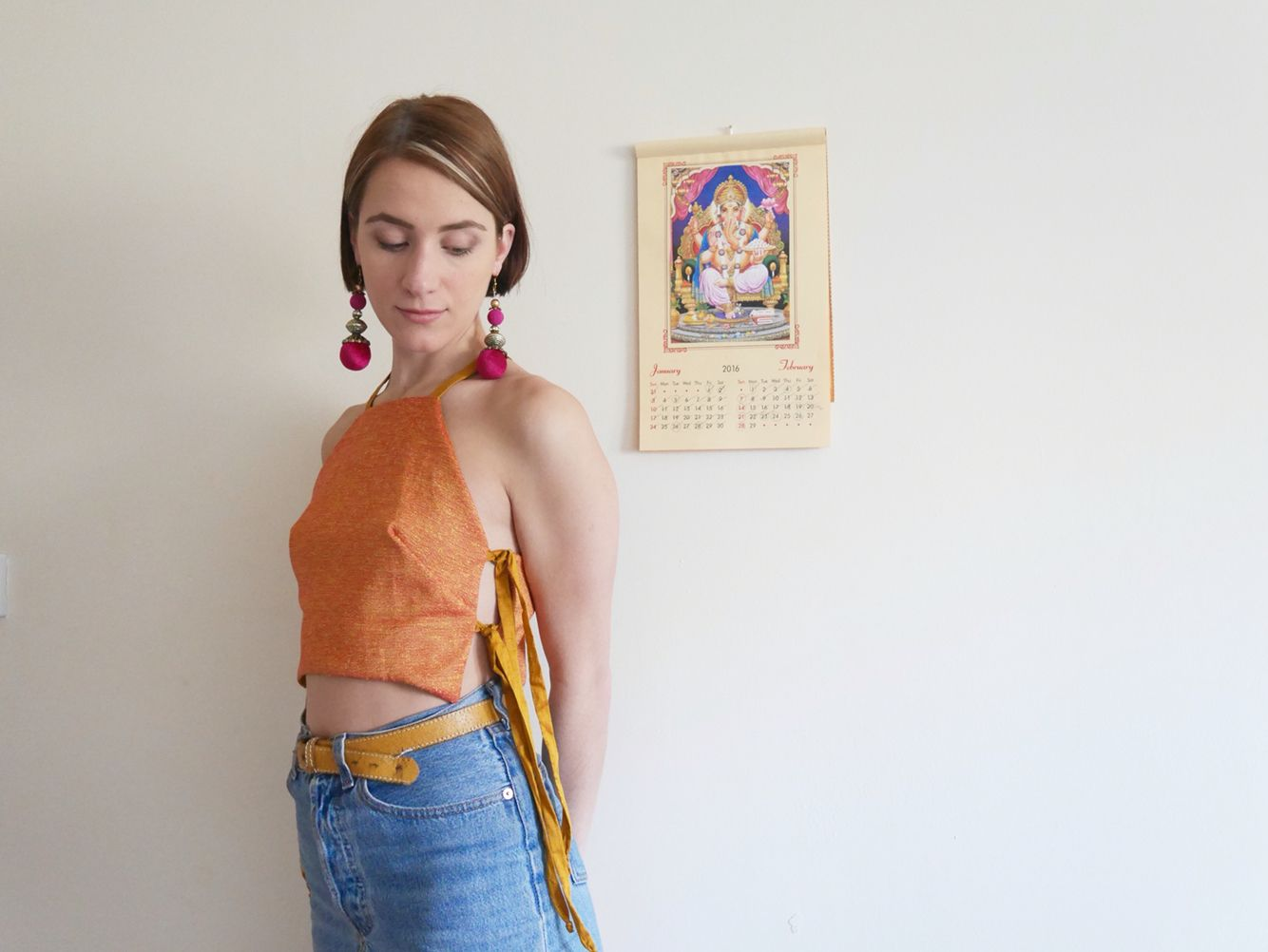 Reversible Crop Top with Side Ties by Annie Oakes Designs