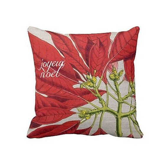 Pillow Cover Holiday Decor Red Poinsettia Holiday Pillow