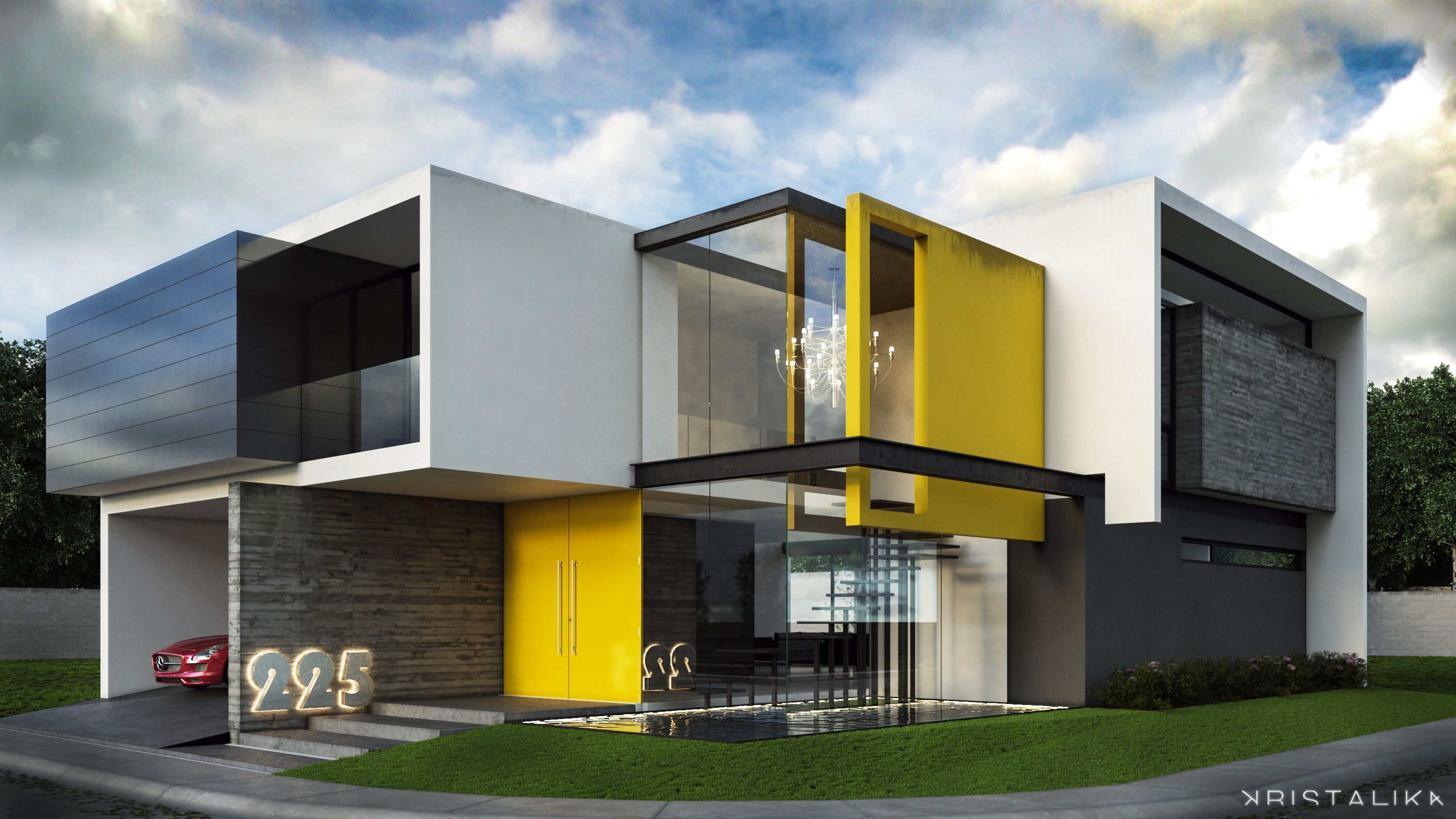 Modern residential facade design Contemporary home construction