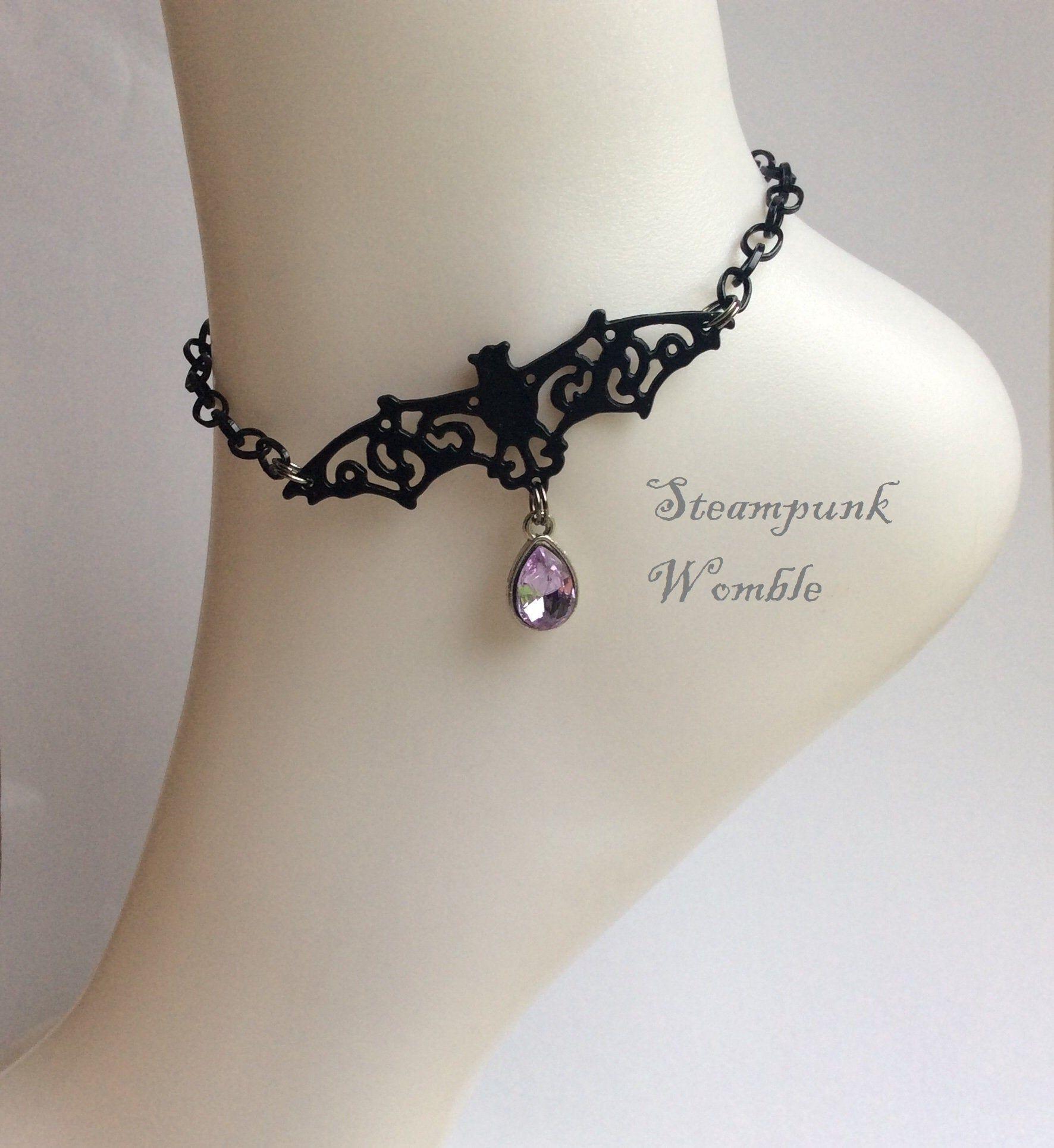 Halloween jewelry Vampire lover Gothic anklet Horror fan Black anklet Bat ankle bracelet Festival jewellery Gift for bat lover