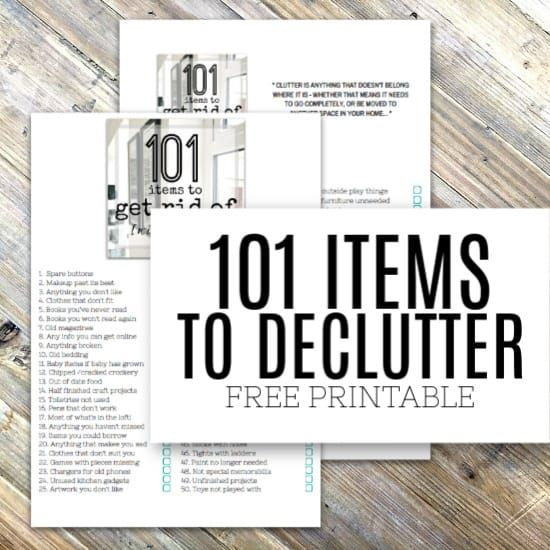 Decluttering made easy  101 items to get rid of without regret is part of Household Organization Printables - Get decluttering the easy way with this easy to follow list of 101 items to get rid of from your home right now  Live a clutter free life right now and feel lighter in the process  Includes a free checklist to help you stay on track as well