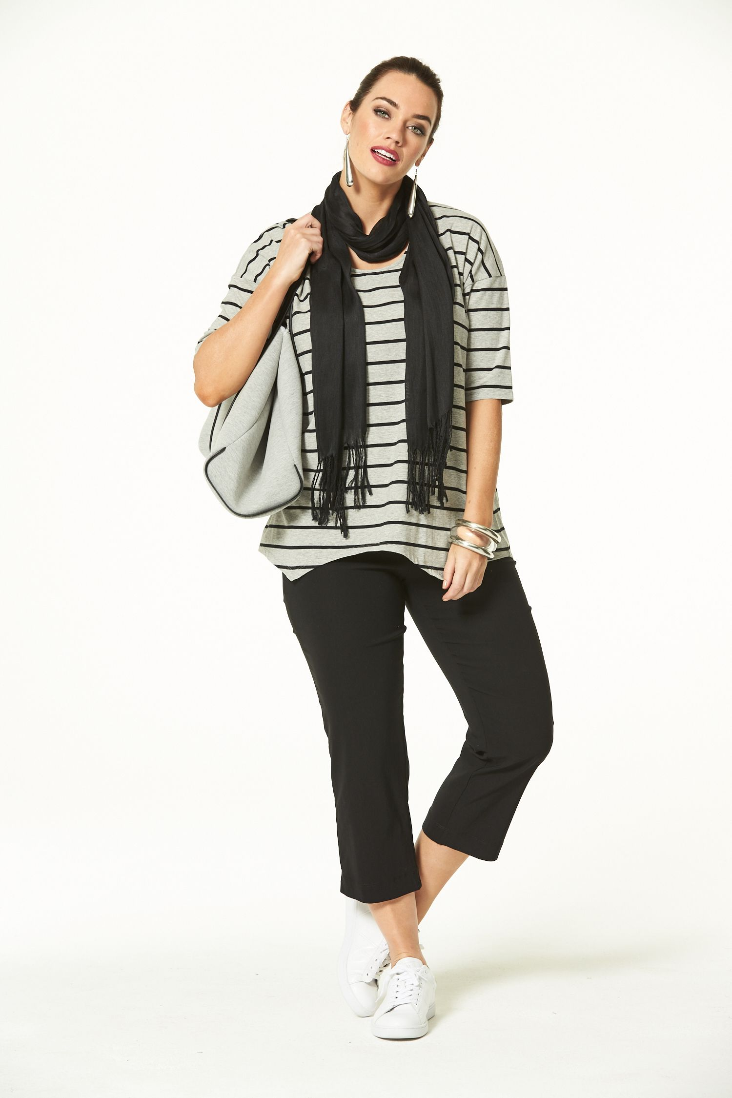 DLuxe Stripey in Grey & Black Bomber jacket, Fashion