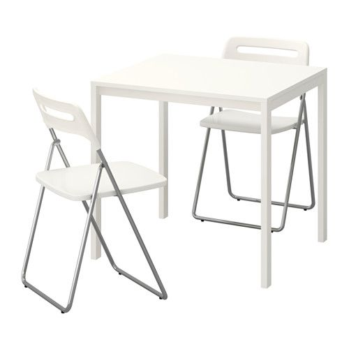 Melltorp Nisse Table And 2 Folding Chairs White White Ikea Compact Table And Chairs Dining Room Table Chairs Ikea Table
