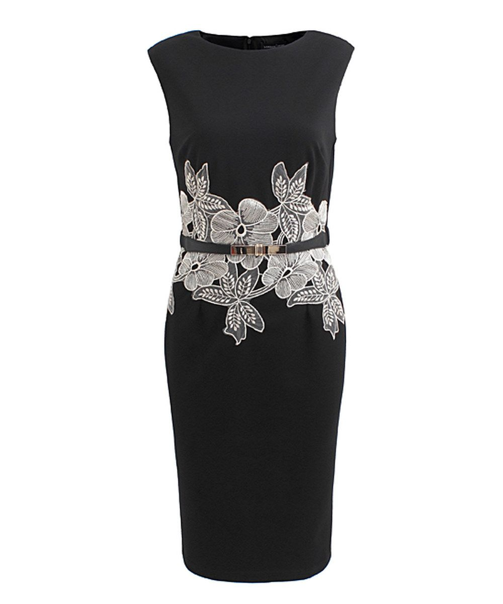 Look at this Black & Cream Floral Lace Clover Dress on #zulily today!