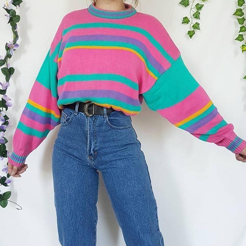 Casual High Collar Stripe Splicing Sweater