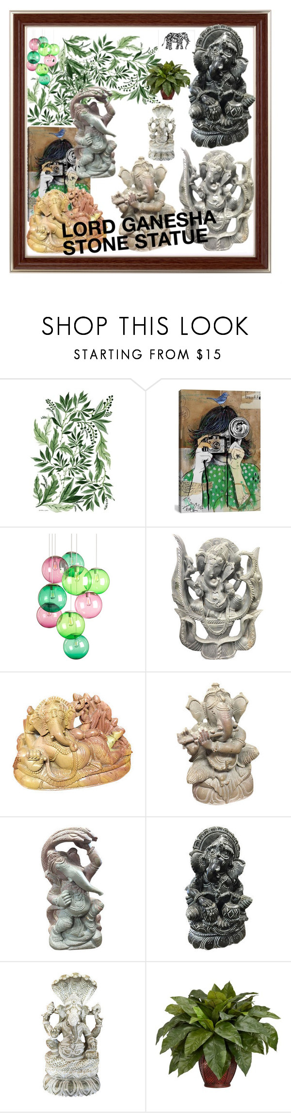 """LORD GANESHA STONE STATUE"" by era-chandok ❤ liked on Polyvore featuring interior, interiors, interior design, home, home decor, interior decorating, iCanvas, Fatboy, Mikasa and Nearly Natural"