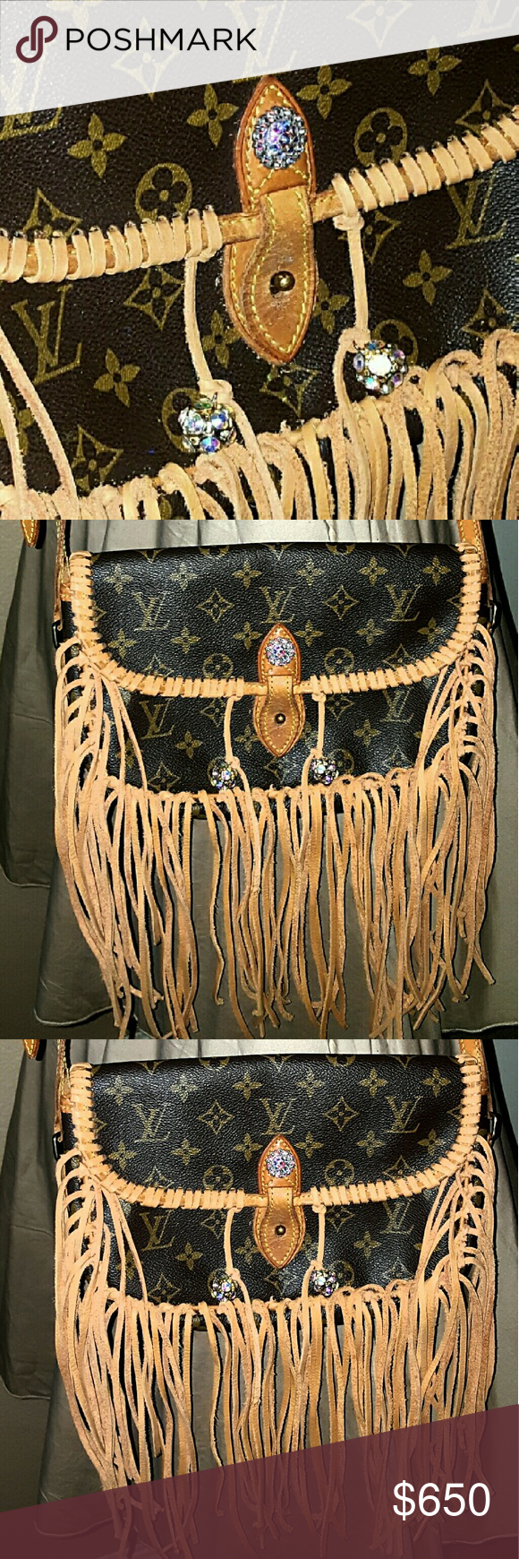 Authentic Vintage Louis Vuitton Gibeciere Fully customized in tan deer lace with alittle bit of sparkle contact me for your custom bag Louis Vuitton Bags Crossbody Bags