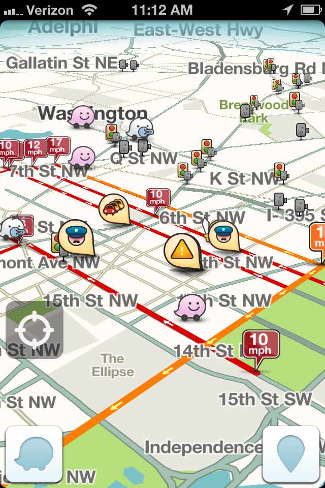 Waze appfree app that combines GPS and user generated