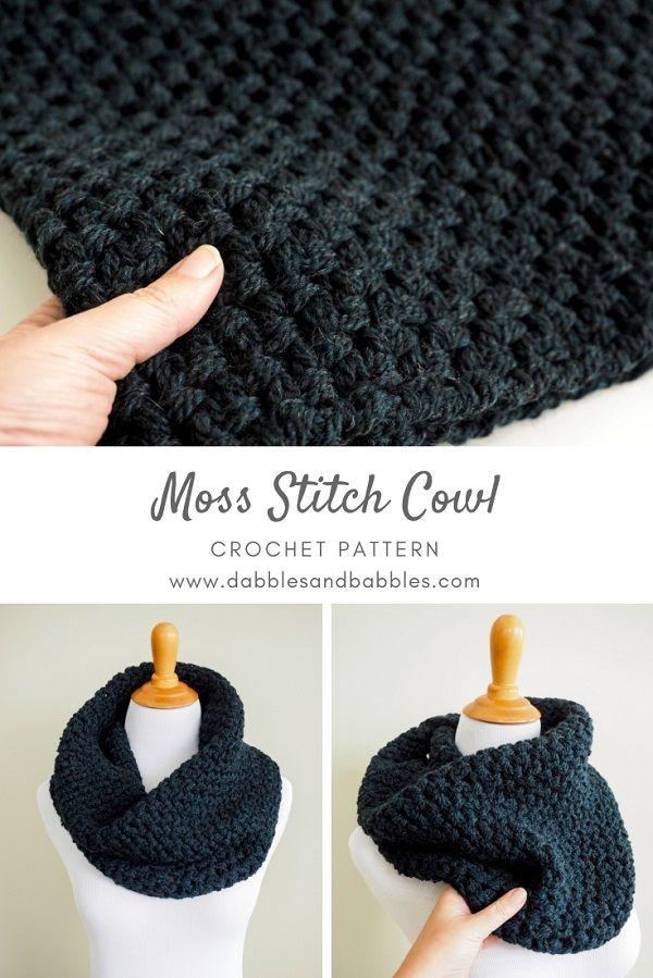 Moss Stitch Cowl Crochet Pattern - Dabbles & Babbles #crochetscarves