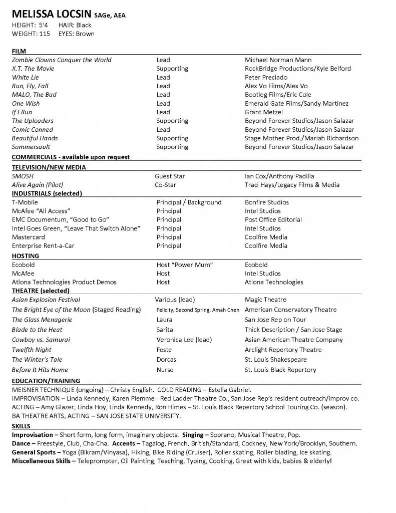 Acting Cv 101 Beginner Acting Resume Example Template Invoice