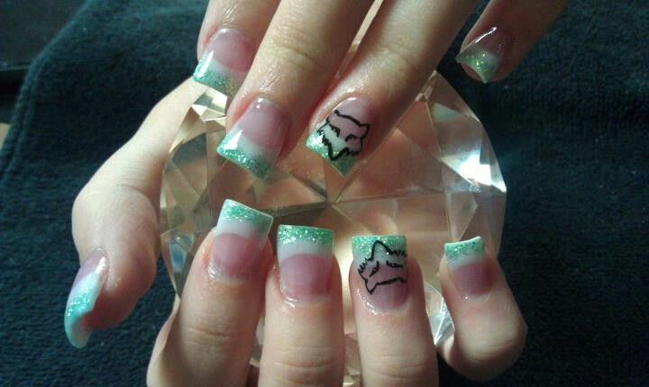 Like The Teal White Not The Fox Racing Design Nails