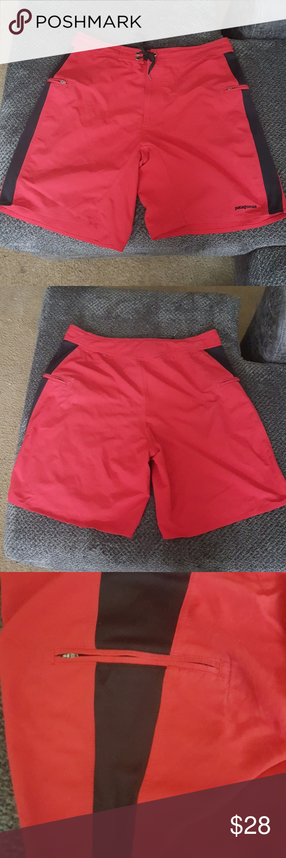 """Men's Patagonia Swim Trunks Swimming trunks with zipper pockets Size 38/ Drawstring waist 52% Polyester and 48% Nylon Measurements laying flat: 18""""waist, 21"""" length and 10"""" inseam Patagonia Swim Swim Trunks"""