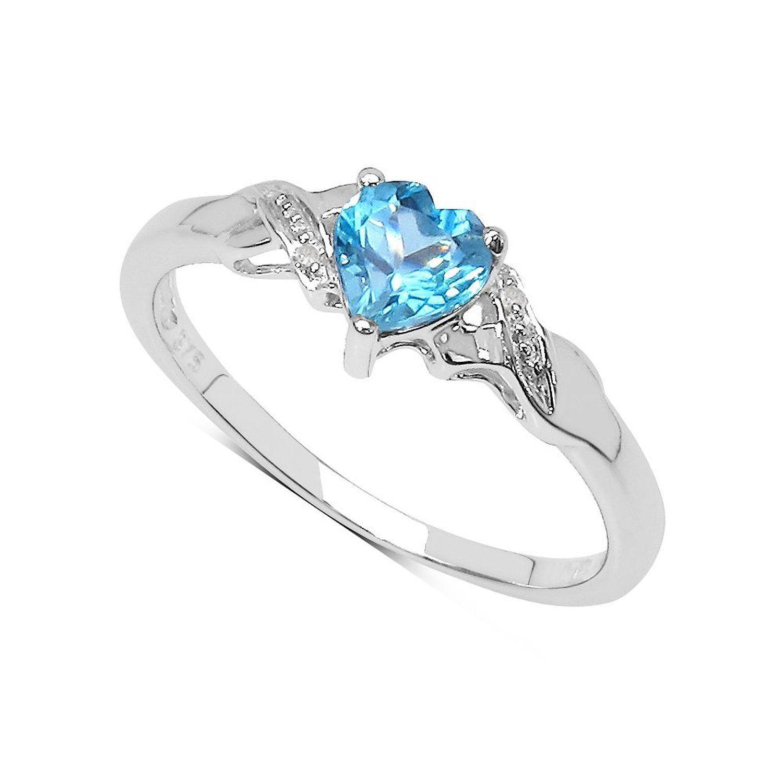 collection bague topaze bleue 9ct or blanc en forme de coeur swiss topaze bleue de diamant. Black Bedroom Furniture Sets. Home Design Ideas