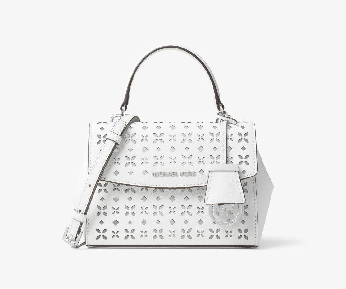 2bede27f48 Michael Kors Ava Extra-Small Perforated-Leather Crossbody - White Silver
