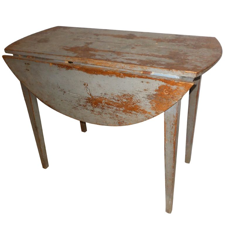 18th Century Swedish Antique Drop Leaf Table In Original Paint