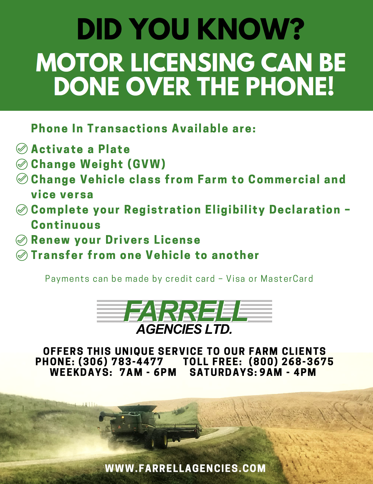 Did You Know Motor Licensing Can Be Done On The Phone Tollfree