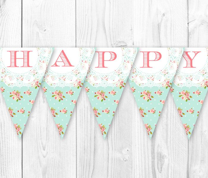 Shabby Chic Birthday Banner  Vintage by HauteChocolateFavors, $6.00