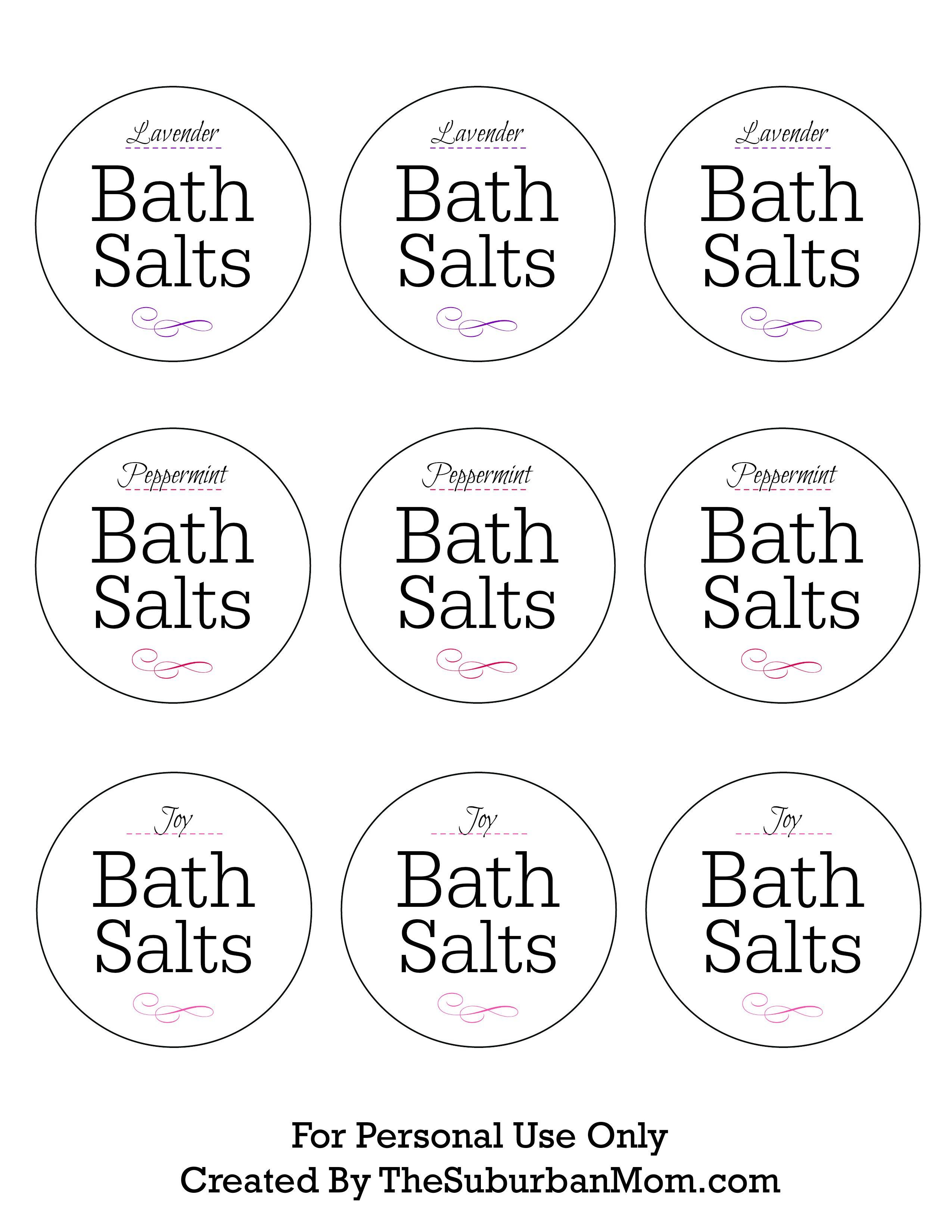 How To Make Lavender Bath Salts Printable Gift Tag Bath Salts Diy Bath Salt Labeling Bath Salts Recipe