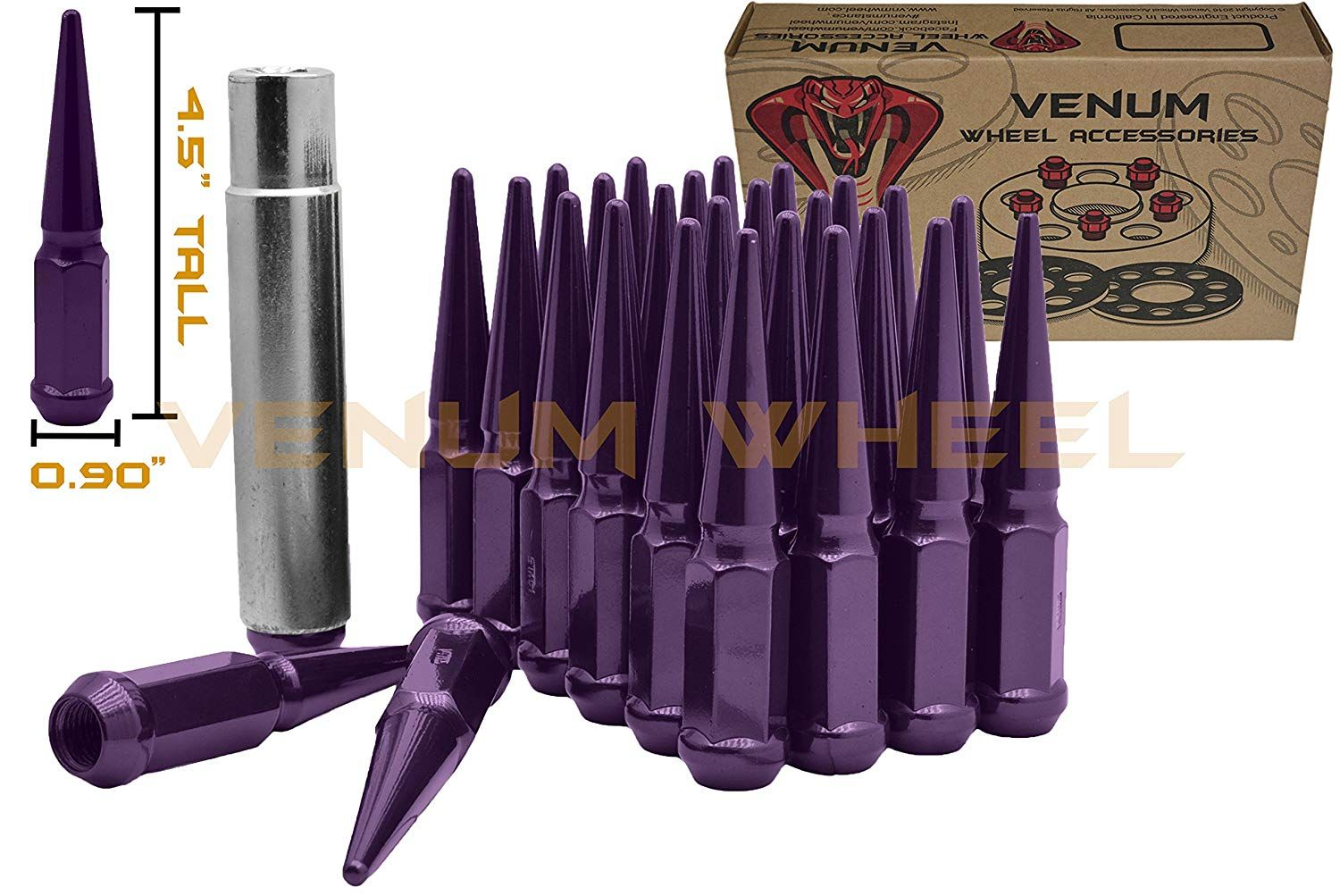 Amazon Com Venum Wheel Accessories 24 Purple M14x1 5 Acorn Seat Spike Lug Nut Steel 4 5 Total Length Works With Chevy Wheel Accessories Jeep Cars Vehicles