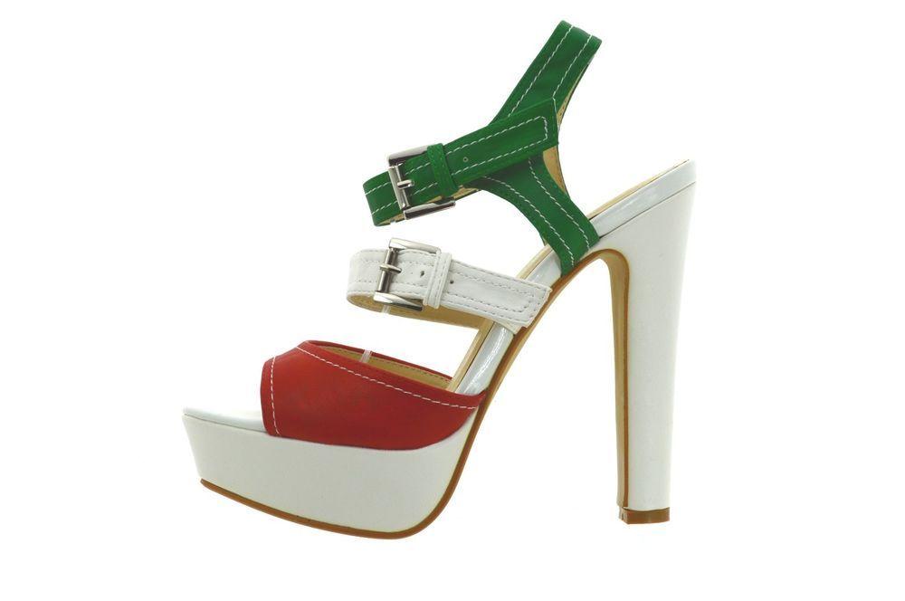 982377b1e6afa2 Scarpe sandali donna bianchi con tacco alto e plateau decolte decolletè  estive