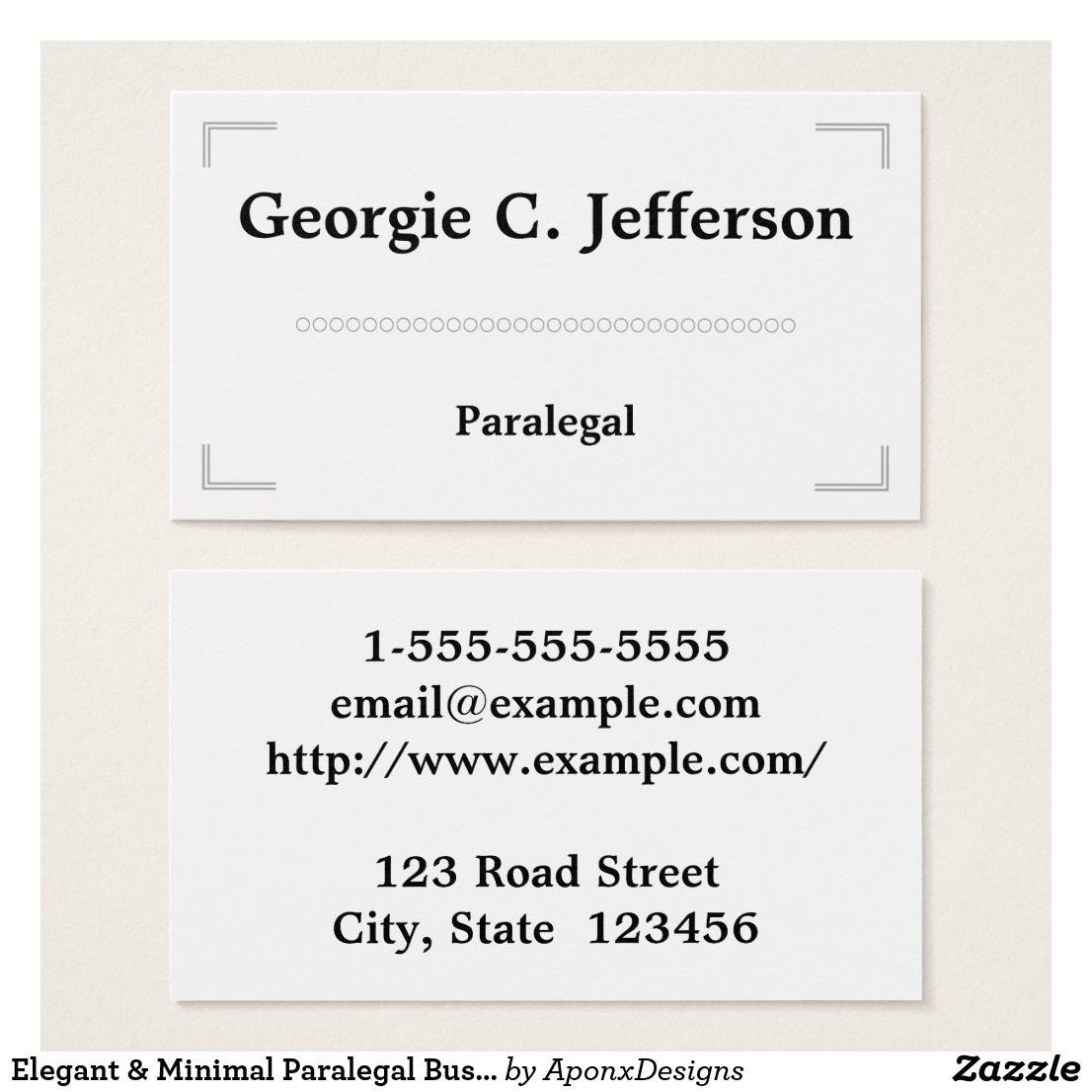 Elegant & Minimal Paralegal Business Card | Paralegal, Business ...