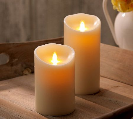 "Qvc Flameless Candles Glamorous Luminara Set Of 2 5"" And 7"" Flameless Candles Wtimer  Flameless Design Decoration"